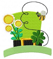Hat Clovers Bee Gold embroidery design