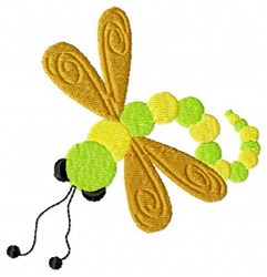 Yellow Dragonfly embroidery design