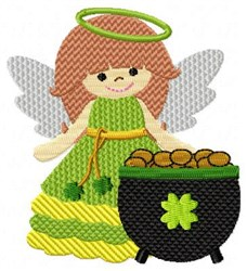 Angel & Gold Pot embroidery design