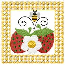 Strawberries Flower & Bee embroidery design