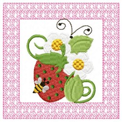 Strawberry Flower & Bee embroidery design
