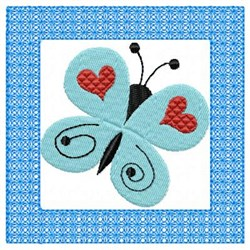 Blue Lacy Butterfly embroidery design
