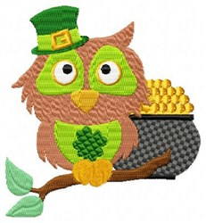 Owl & Gold Pot embroidery design