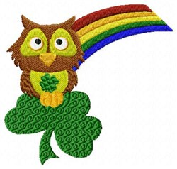 Owl Clover Rainbow embroidery design