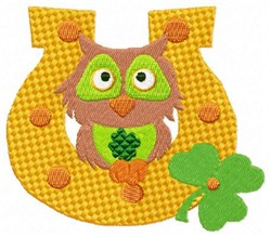 Owl & Horseshoe embroidery design