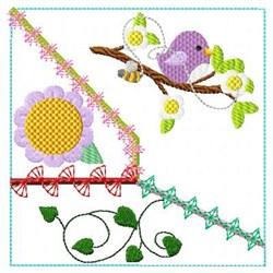 Bird & Flower Block embroidery design