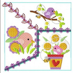 Birds & Blooms Block embroidery design