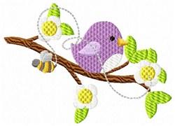 Bird & Bee Branch embroidery design