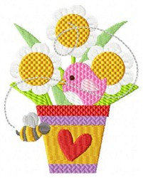 Bird Bee & Flowers embroidery design