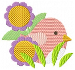 Bird & Blooms embroidery design
