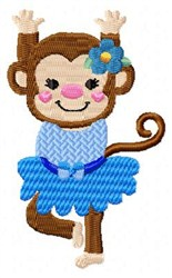 Dancing Blue Monkey embroidery design