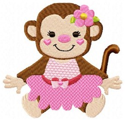Dancing Pink Monkey embroidery design