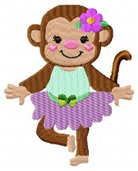 Dancing Purple Monkey embroidery design