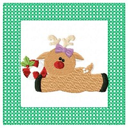 Lacy Reindeer & Candycane embroidery design