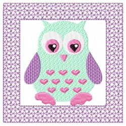 Purple Lacy Owl embroidery design