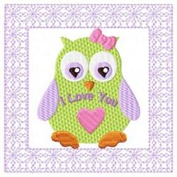 I Love You Owl embroidery design