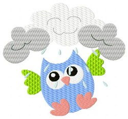 Rainy Day Owl embroidery design