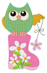 Owl & Flowers embroidery design