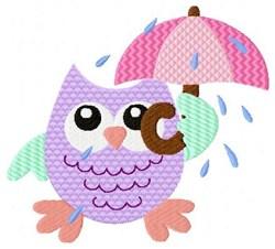 Umbrella Owl embroidery design