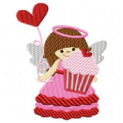 Valentine Angel Cupcake embroidery design