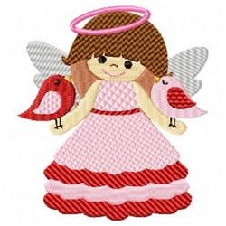 Valentine Angel Birds embroidery design