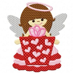 Valentine Angel Present embroidery design