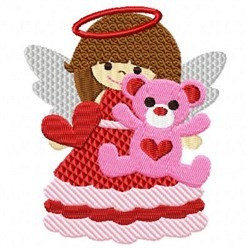 Valentine Angel Bear embroidery design