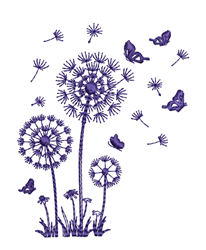 Dandelions  & Butterflies embroidery design