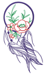 Floral Dream Catcher Outline embroidery design