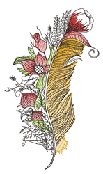 Floral Peacock Feather embroidery design