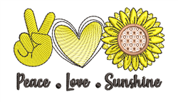 Peace Love & Sunshine embroidery design