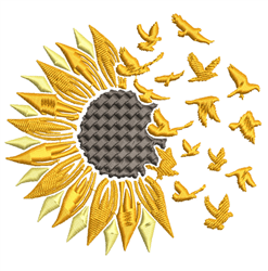 Sunflower & Birds Breakaway embroidery design