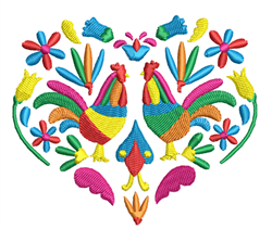 Rosemaling Roosters & Heart embroidery design