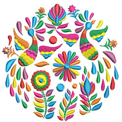 Rosemaling Multi-Color Flowers embroidery design