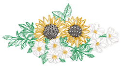 Sunflowers & Daisies Border embroidery design