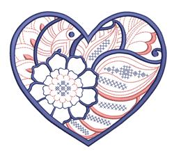 Mandala Floral Heart embroidery design
