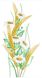 Daisies & Wheat Bouquet embroidery design