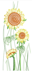 Rippled Sunflowers embroidery design