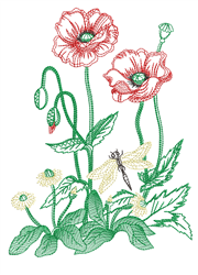 Sketched Pansies embroidery design