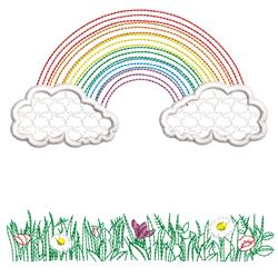 Rippled Rainbow & Flowers embroidery design