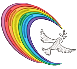 Rainbow & Dove embroidery design