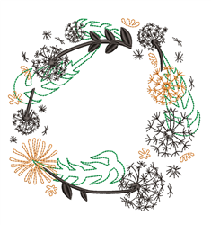Dandelion Wreath embroidery design