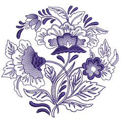 Rosemaling Floral Circle embroidery design