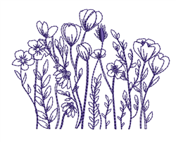 Outlined Poppies embroidery design
