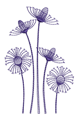 Bluework Coneflowers embroidery design
