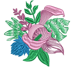 Peace Lily Bouquet embroidery design