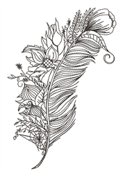 Floral Peacock Feather Outline embroidery design