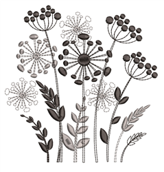 Decorative Monotone Flowers embroidery design