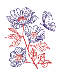Flowers & Butterfly Outline embroidery design