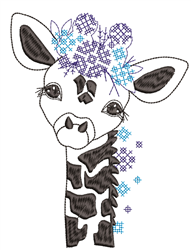 Floral Baby Giraffe embroidery design